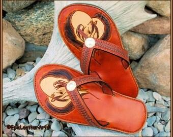 Flip Flops, Leather Flip Flops - Sandals - Thongs, handmade