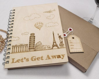 Let's Get Away - Wood Cover Notebook
