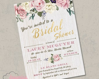 Roses and Wood Bridal Shower Invitation - Vintage, Rustic, Chic