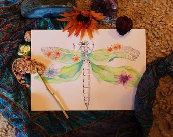 Watercolor Nature/Dragonfly Painting, Wall decor, Art