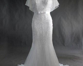 Cape Wedding Bridal Lace Dress