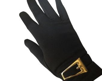 Vintage Black Gloves with Gold Buckel
