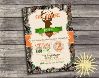 Camouflage Hunting Birthday Party Invitation - Deer Head - Digital File