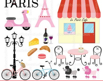 Paris Clipart Clip Art Eiffel Tower Macaron Cheese Wine