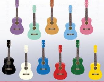 Ukelele Clipart, Colorful Ukelele Digital Download, Musical Instruments Clipart, Ukelele Instant Download
