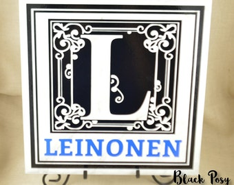 Personalized Initial and Last Name Tile with Flourish 12 x 12