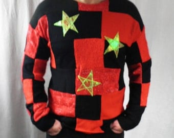 Red & Black Patchwork Sweater with Cosmic Stars  Size S - M