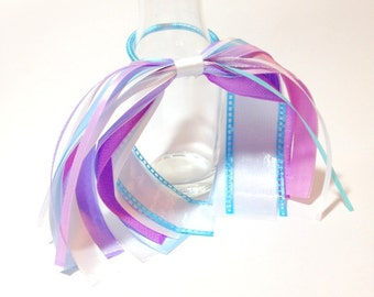 Hair Ribbons for Girls, Little Girl Spring Dress Hair Ribbons, Purple and Blue, Pastel Colors, Race Hair Ribbons, Runners Ribbons