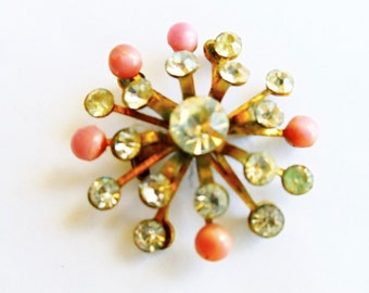 Vintage Flower Atomic Rhinestone Brooch, Pink Beads Rhinestone Flower Pin, Gold Tone Rhinestone Pin, Mid Century Pin, Estate Jewelry, 1940s'