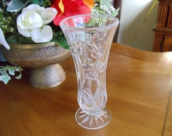 Vintage Clear Glass Vase, Pedestal Decorative Vase, Heavy Clear Glass Vase, Cone Shaped Vase, Flower Vase, Home Decor, Gift Ideas, 1980s'