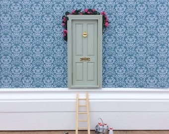 Fairy Door - Doll House Door hand painted sage green