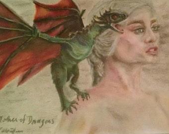 "MOTHER OF DRAGONS Daenerys Targaryen Pastel Drawing - Original Art 9"" x 12"" Unframed"