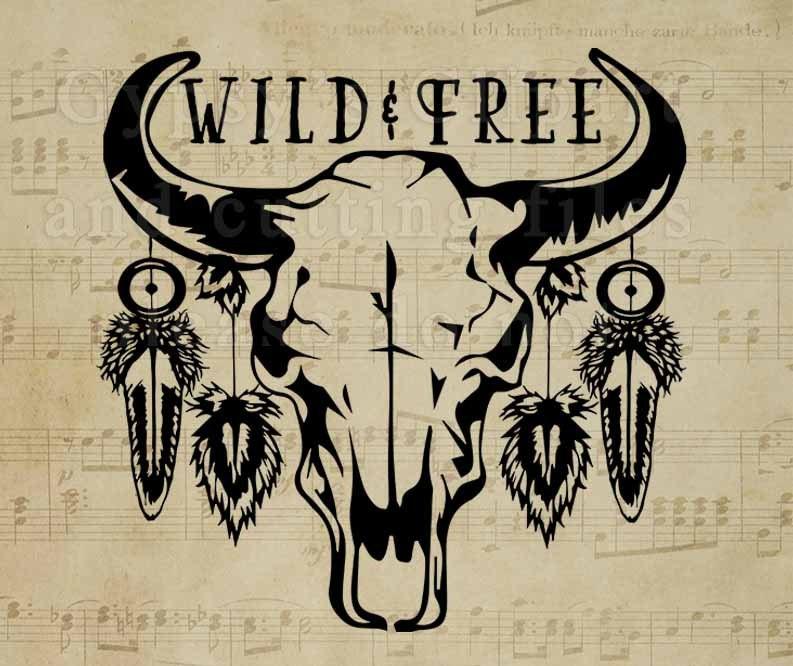 bison skull svg cow skull gypsy soul wild child free spirit tribal clipart vector. Black Bedroom Furniture Sets. Home Design Ideas