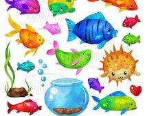 Tropical Fish Clipart - Colorful Fish Download - Instant Download - Watercolor Tropical Fish and Fish Bowl