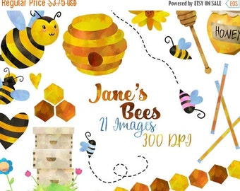 50% OFF Honey Bees Clipart - Bee Items Download - Instant Download - Watercolor Cute Honey Bees Flowers