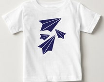 Paper Plane Origami Cute Simple Baby Toddler Summer Spring T-Shirt Top