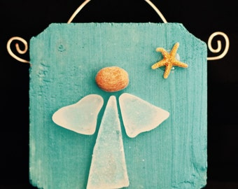 Sea Glass Angel Ornament/Wall Hanging (1 angel)