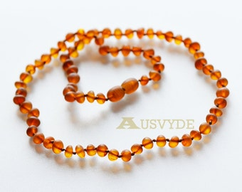Raw Baltic amber Adults necklace Cognac Color unpolished Beads, Amber raw necklace, 44 cm or 17,3 inch, 5778/m
