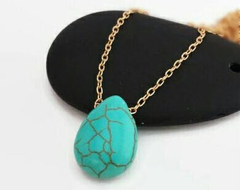 Everyday Necklace - Turquoise Necklace - Teardrop Necklace - Statement Necklace - Turquoise Necklace - Stone Necklace