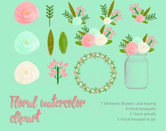 Coral and mint floral Watercolor Clip art. Instant download PNG files. High resolution (300dpi).