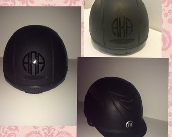 Riding helmet monogram, horseback riding helmet monogram, circle monogram,
