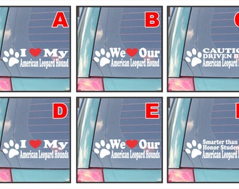 American Leopard Hound dog dogs proud live love bark proud happiness hug co-pilot rescue smarter funny assorted decal sticker