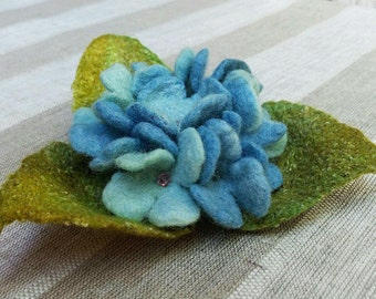 Blue Flowers Felted Brooch