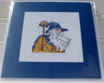 Cross stitch card, cross stitch picture, blank card, birthday card, thank you card, special occasion card, wizard, Merlin
