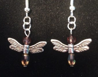 Dragonfly dangle beaded earrings