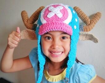 Chopper hat, chopper one piece cartoon character hat,chopper crochet hat,anime crochet hat,crochet chopper,cosplay hat,crochet anime hat,hat