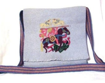 Bag embroidered by hand, from wool, medieval clothing reenactors, vikings dark ages, historical naturally dyed