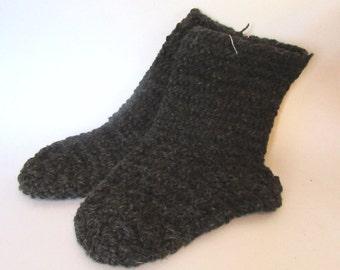 Needlebound dark grey socks size 8, pure wool, medieval clothing reenactors vikings dark ages nalbinding needlebinding historically accurate