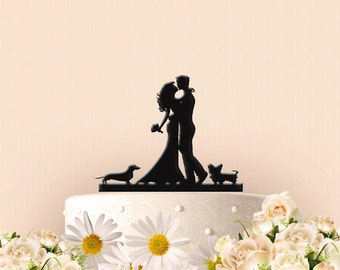 Custom Couple with Dachshund and Yorkie Wedding Cake Topper