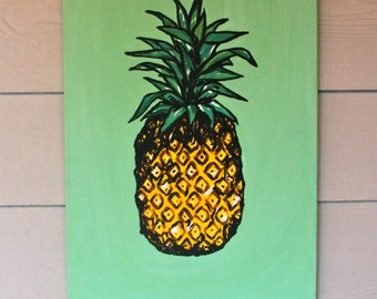 pineapple painting. Pineapple Painting - READY TO SHIP Acrylic On Canvas, Art, Wall Art M