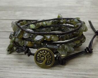 Raw stone bracelet Labradorite wrap bracelet Boho wrap bracelet Gemstone leather bracelet Labradorite bracelet Jewelry SL-0440