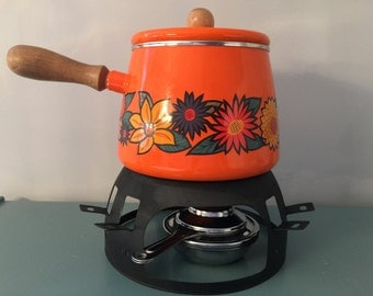 Vintage Orange Fondue Pot with Stand and Gas Burner