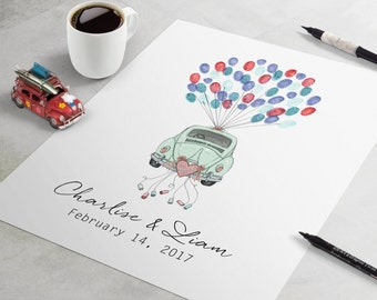 Wedding Guest Book: Just Married Love Bug fingerprint guestbook, wedding fingerprint tree, thumbprint tree, fingerprint guestbook car
