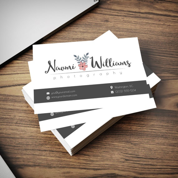 Photography logo watermark with matching business card for Watermark business cards