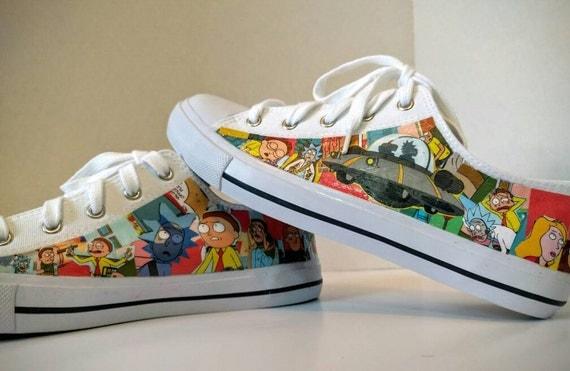 Rick And Morty Sneakers / Character Sneakers / Comic Book Sneakers / Handmade Sneakers