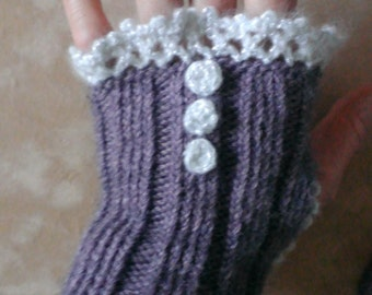 Mittens romantic headlines hand knit and lace crochet made in France