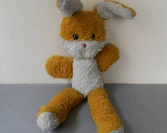 Vintage Stuffed Rabbit /  vintage stuffed Easter bunny / Plush Rabbit /  Vintage toy old 1970 / Vintage Stuffed Bunny Toy / yellow rabbit.