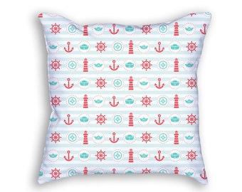 Nautical Stripes Throw Pillow, Lighthouse Anchor Boat Decorative Pillow