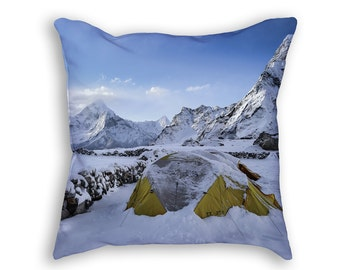 Hiker in Snowy Mountains Throw Pillow, Mountain Hiking Decorative Pillow