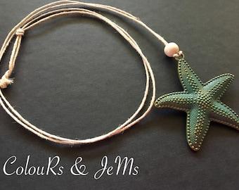 Handmade necklace, flax cord, starfish, matellic starfish, wooden bead