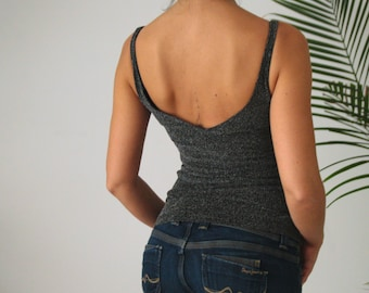BAY • Lurex Tank-Top  in Black Color with Round Deep Neckline, Open Back and Tiny Straps