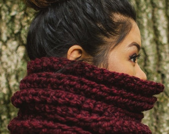 The Lennox // Chunky knit cowl, tube scarf // pictured in WINE