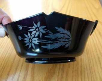 BLACK AMETHYST BOWL, with handles, Silver Overlay of flowers on 2 sides