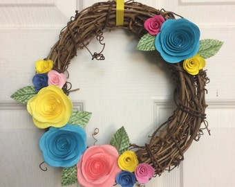 Spring Grapevine Wreath Blue Pink Yellow Paper Flowers