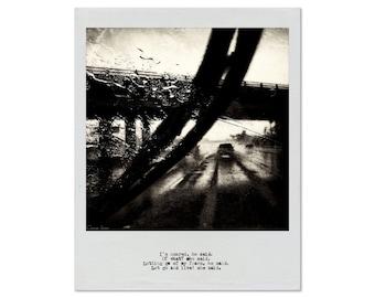 Letting Go, Polaroid-Type Print, Vintage Typewriter Text, Car, Rain, Fine Art, 8x10, 11x14, 16x20, 24x30, Metal, Wood, Canvas