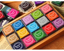 Oil based Ink Pad Mini Set of 20 colors,Golden and silver included, for DIY Scrapbook Ink Pad, colorful ink pad Mini Set